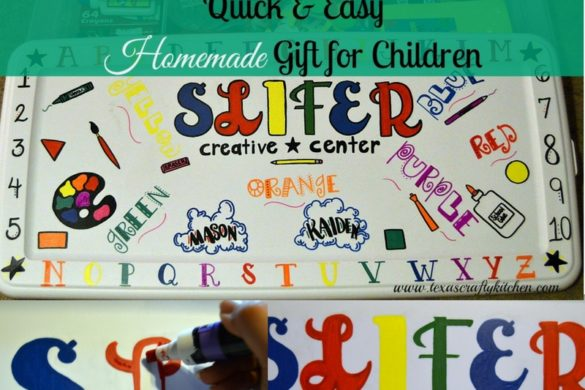 Quick and Easy Homemade Creative Center Gift. A great DIY gift for a child! This Creativity Center can be given for any special occasion!