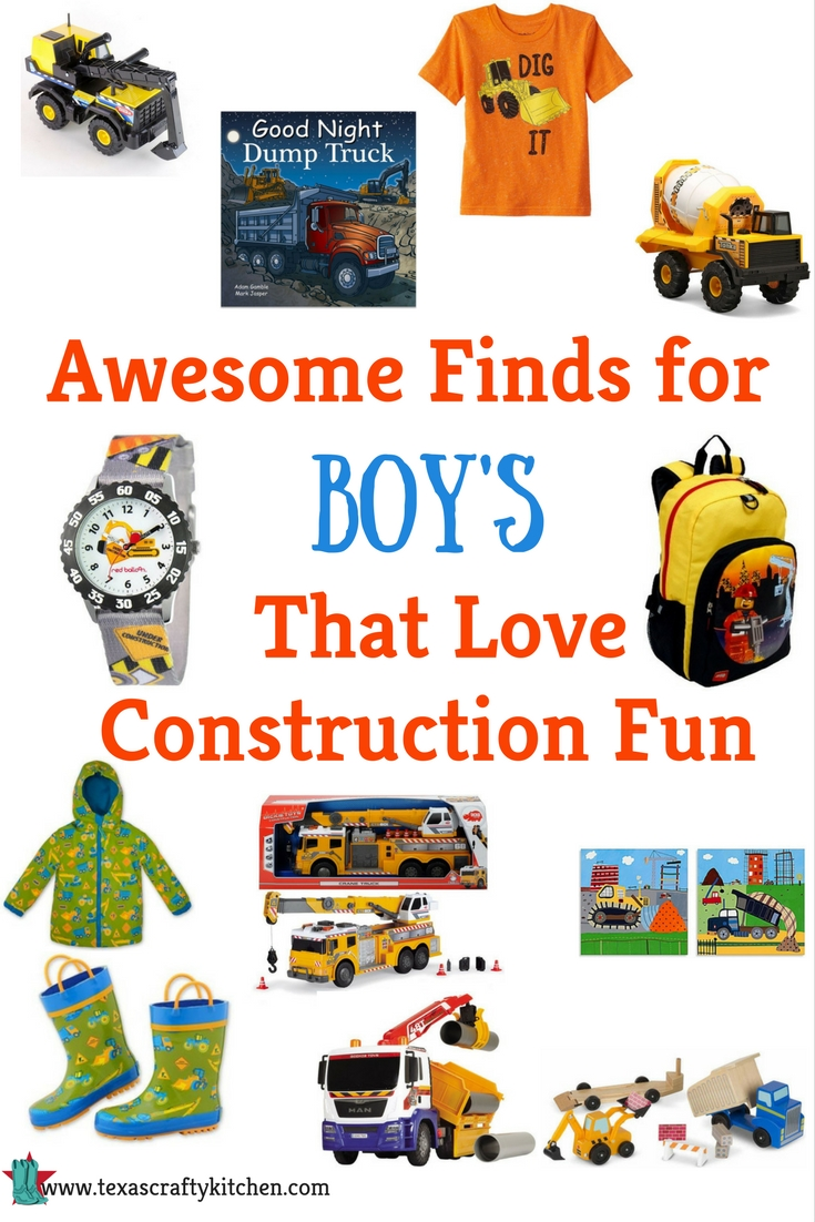 Awesome Finds for Boys That Love Construction Fun! Anyone who love construction will love these. Toy trucks, watches, fashion, books, and more!