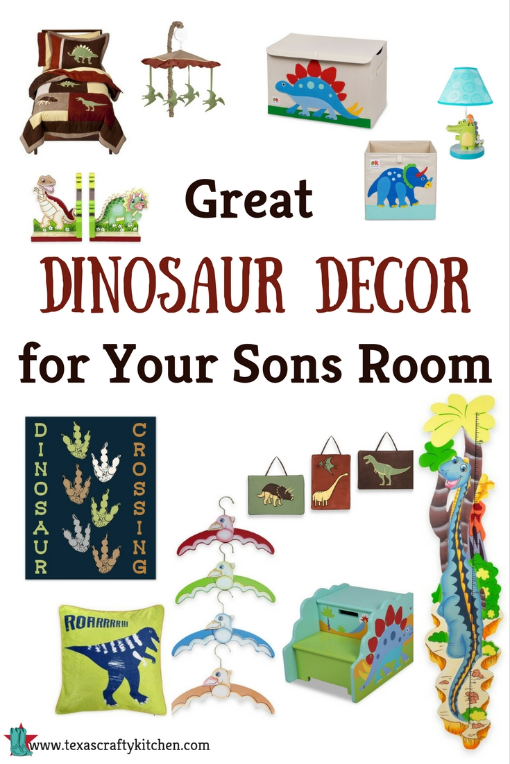 Great Dinosaur Decor for Your Sons Room. Dinosaur Decor is here to stay! Really, did it ever go away? My boys use to love dinosaurs and now my grandsons do. We found some great dinosaur decor that your son will love!