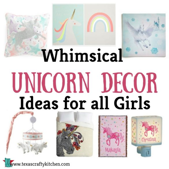 Whimsical Unicorn Decor Ideas for all Girls. Girls love Unicorns! The whimsical beautiful Unicorn is all the rage. We went on the search for some Unicorn Decor Ideas and found some beautiful things.