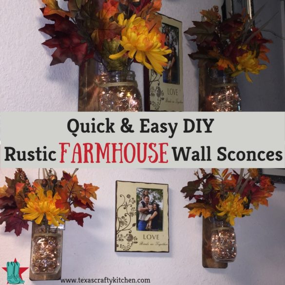 Quick and Easy DIY Rustic Farmhouse Wall Sconces. Fall is fast approaching and our minds have turned to fall decor!  These quick and easy DIY rustic farmhouse wall sconces were just what we needed to add a touch of fall to our home.