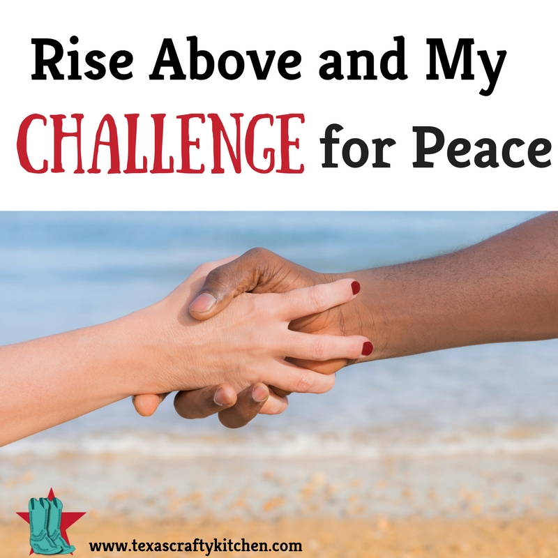 Rise Above and My Challenge for Peace. Did your parents teach you to rise above and not stoop to another person's level? I know mine did and we taught it to our children. We need to rise above for peace!